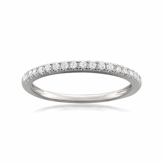 Womens 2MM 1/4 CT. T.W. Genuine White Diamond 14K Gold Wedding Band