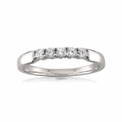 Womens 2mm 1/4 CT. T.W. White Diamond 18K Gold Wedding Band