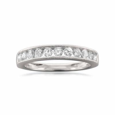 Womens 1/4 CT. T.W. White Diamond 18K Gold Wedding Band