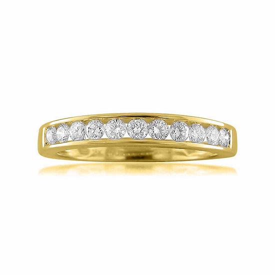 Womens 2.5MM 1/2 CT. T.W. Genuine White Diamond 18K Gold Wedding Band
