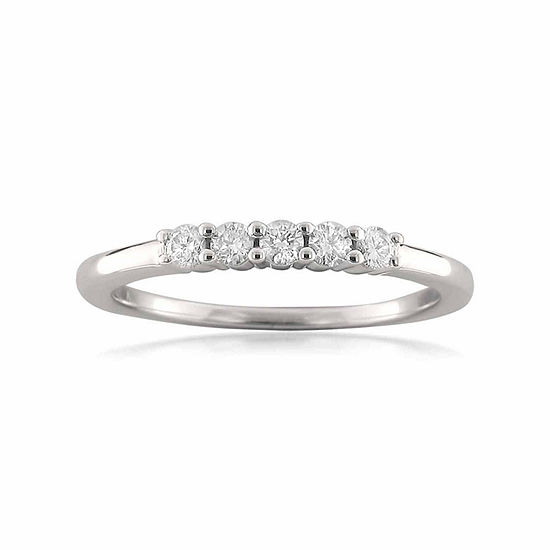 Womens 2 Mm 1/4 CT. T.W. Genuine White Diamond 18K Gold Wedding Band