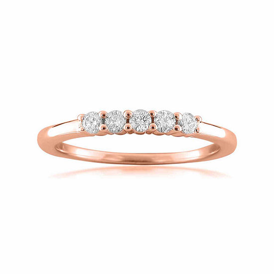 Womens 2MM 1/4 CT. T.W. Genuine White Diamond 14K Gold Wedding Band