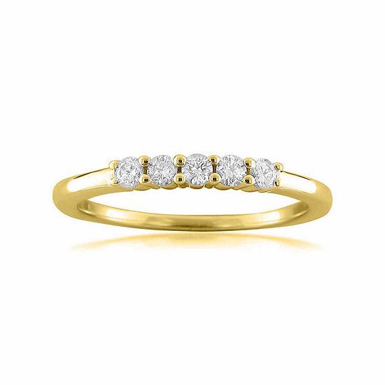 Womens 2 Mm 1/4 CT. T.W. Genuine White Diamond 14K Gold Wedding Band