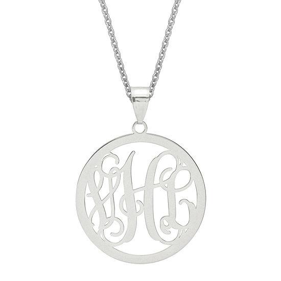 Personalized 43x32mm Circle Monogram Pendant Necklace