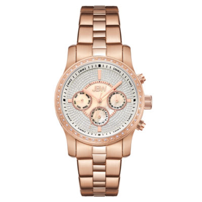 JBW Womens Diamond-Accent Rose-Tone Stainless Steel Bracelet Watch J6327C