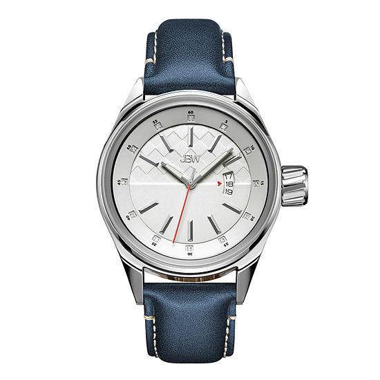 JBW Rook Mens Diamond-Accent Blue Leather Strap Watch J6287E