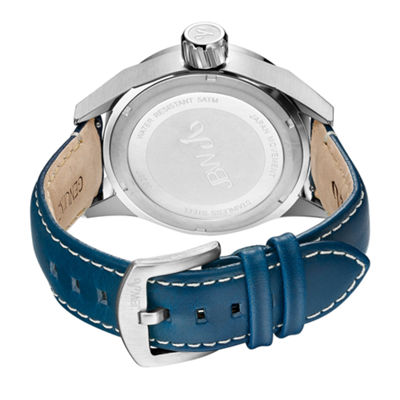 JBW Rook Mens Diamond-Accent Blue Leather Strap Watch J6287E