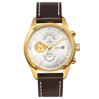 JBW The Woodall Mens Diamond-Accent Brown Leather Strap Watch J6300D