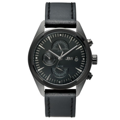 JBW The Woodall Mens Diamond-Accent Black Leather Strap Watch J6300E