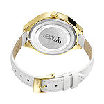 JBW Aria Womens Diamond- and Crystal-Accent White Leather Strap Watch J6309A