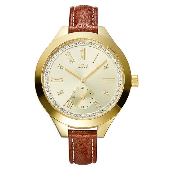 JBW Aria Womens Diamond-Accent Brown Leather Strap Watch J6309B