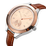 JBW Aria Womens Diamond Accent Crystal Accent Brown Leather Strap Watch-J6309d