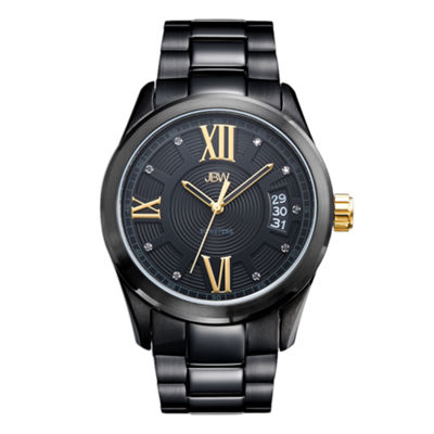 JBW Bond Mens Diamond-Accent Black Stainless Steel Watch J6311E
