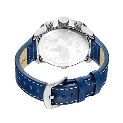 JBW G3 Mens Diamond-Accent Blue Leather Strap Watch J6325A