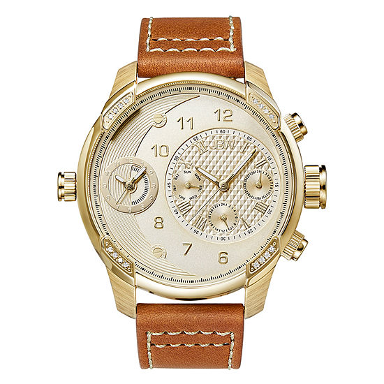 JBW G3 Mens Diamond-Accent Brown Leather Strap Watch J6325B