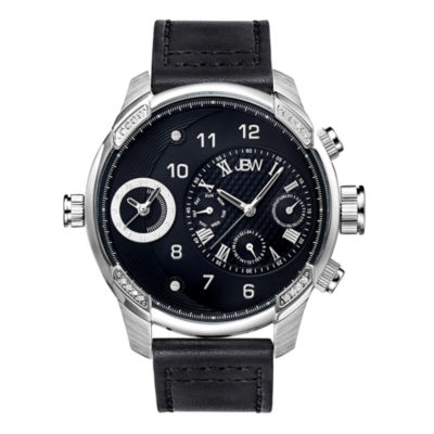 JBW G3 Mens Diamond-Accent Black Leather Strap Watch J6325C