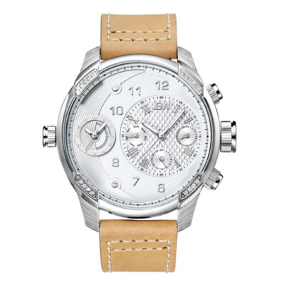 JBW G3 Mens Diamond-Accent Light Brown Leather Strap Watch J6325D