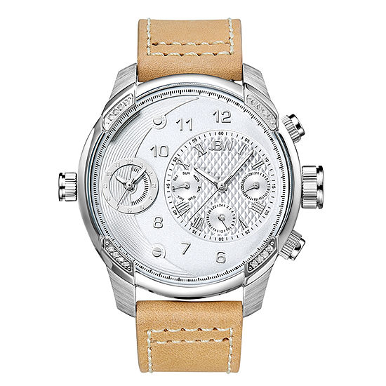 JBW G3 Mens Diamond-Accent Light Brown Leather Strap Watch J6325D