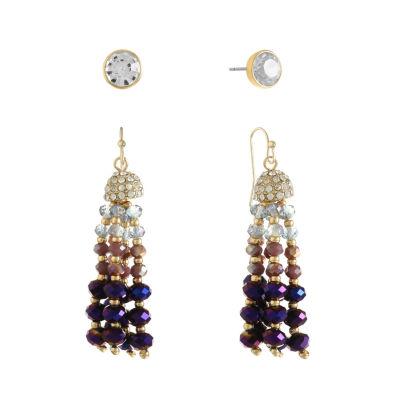 Liz Claiborne Womens 2 Pair Purple Jewelry Set