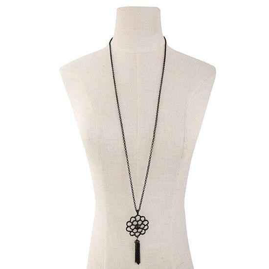 Liz Claiborne Black 36 Inch Cable Pendant Necklace
