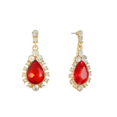 Monet Jewelry Red Round Drop Earrings