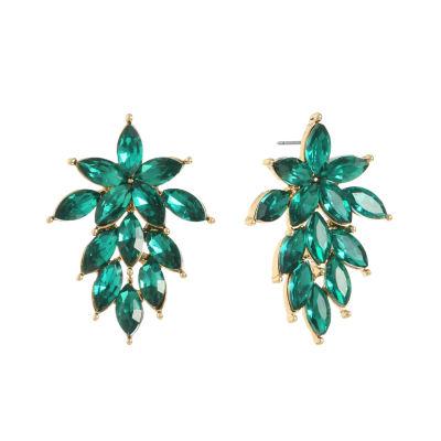 Monet Jewelry Green Round Drop Earrings