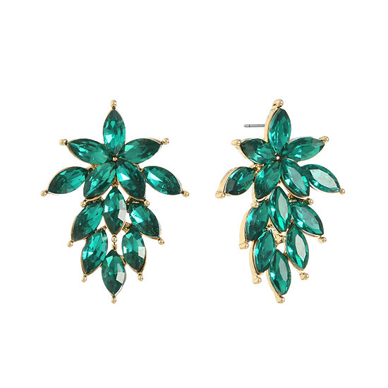 Monet Jewelry 1 Pair Green Round Drop Earrings