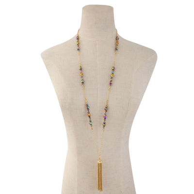 Liz Claiborne Beaded Tassel Necklace Multi Goldtone