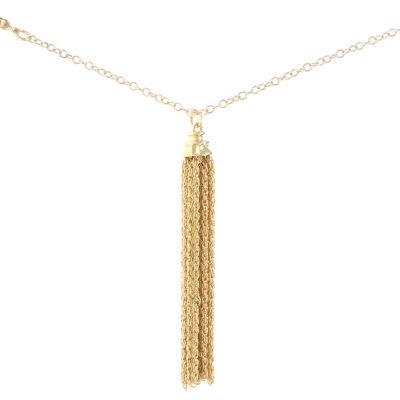 Liz Claiborne Beaded Tassel Necklace Multi Goldtone