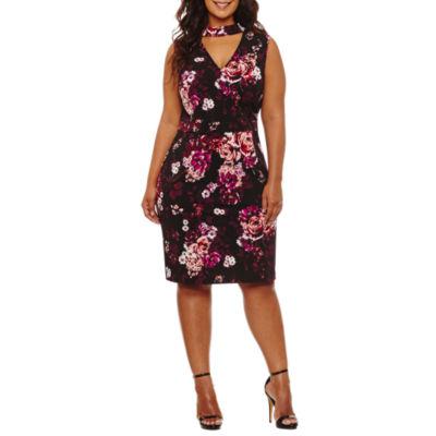 Spense Sleeveless Floral Sheath Dress-Plus
