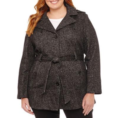 Liz Claiborne Belted Trench Coat-Plus