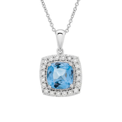 Diamond Accent Blue Blue Topaz Cushion Sterling Silver Pendant