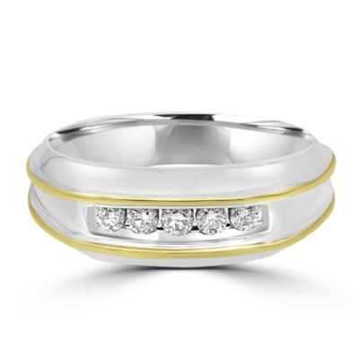 Mens 1/4 CT. T.W. Genuine Diamond 10K Gold Band