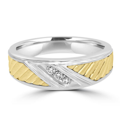Mens Genuine Diamond 10K Gold Round Band