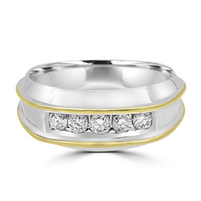 Mens 1/2 CT. T.W. Genuine Diamond 10K Gold Round Band