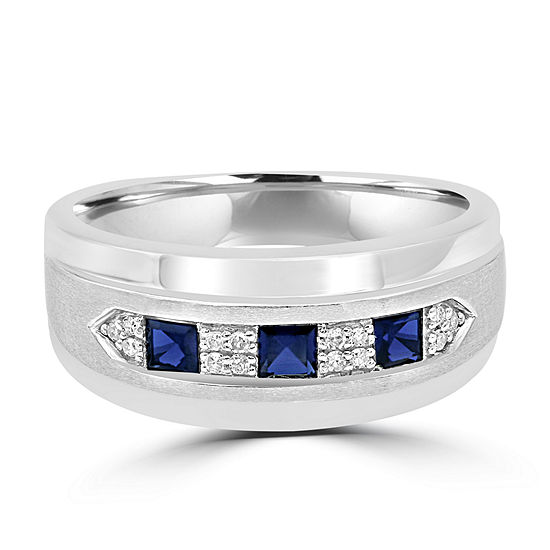 Modern Bride Gemstone Mens 23.MM Diamond Accent Lab Created Blue Sapphire 10K Gold Band