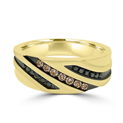 Mens 23.MM 1/3 CT. T.W. Multi Color Diamond 10K Gold Band