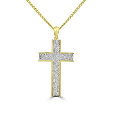 Mens 1/2 CT. T.W. White Diamond 10K Gold Pendant Necklace