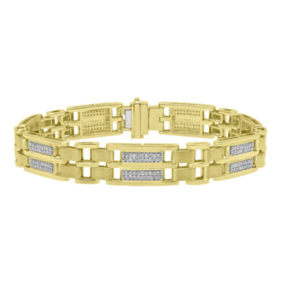 Mens 8 1/2 Inch 1 CT. T.W. White Diamond 10K Gold Link Bracelet