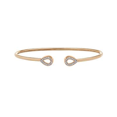 1/7 CT. T.W. Genuine White Diamond 14K Gold Over Silver Bangle Bracelet