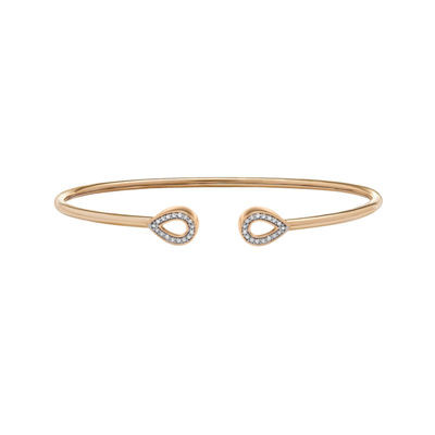Womens 1/7 CT. T.W. White Diamond 14K Gold Over Silver Bangle Bracelet