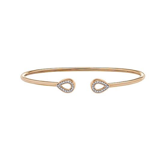 1/7 CT. T.W. Genuine White Diamond 14K Gold Over Silver Bangle Bracelet