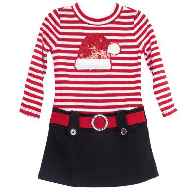 Lilt Long Sleeve Drop Waist Dress - Toddler Girls