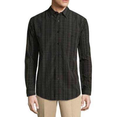 Haggar Long Sleeve Plaid Button-Front Shirt