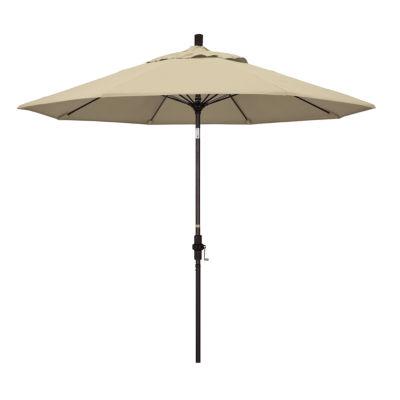California Umbrella 9' Sun Master Series Pacifica Patio Umbrella With Bronze Aluminum Pole Fiberglass Ribs Collar Tilt Crank Lift