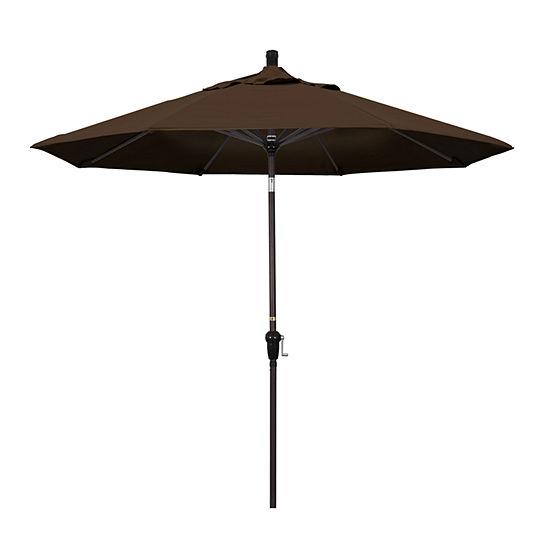 California Umbrella 9' Sunset Series Pacifica Patio Umbrella With Bronze Aluminum Pole Aluminum Ribs Auto Tilt Crank Lift