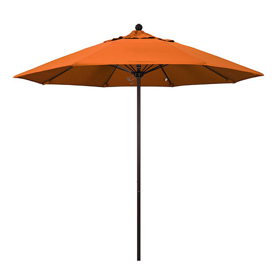 California Umbrella 9 Venture Series Pacifica Patio Umbrella With Bronze Aluminum Pole Fiberglass Ribs Push Lift
