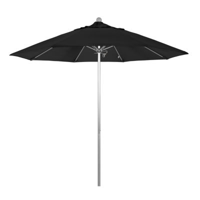 California Umbrella 9' Venture Series Pactifica Patio Umbrella With Silver Anodized Aluminum Pole Fiberglass Ribs Push Lift
