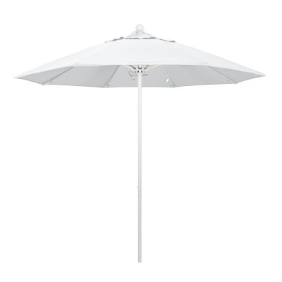 California Umbrella 9' Venture Series Pacifica Patio Umbrella With Matted White Aluminum Pole Fiberglass Ribs Push Lift