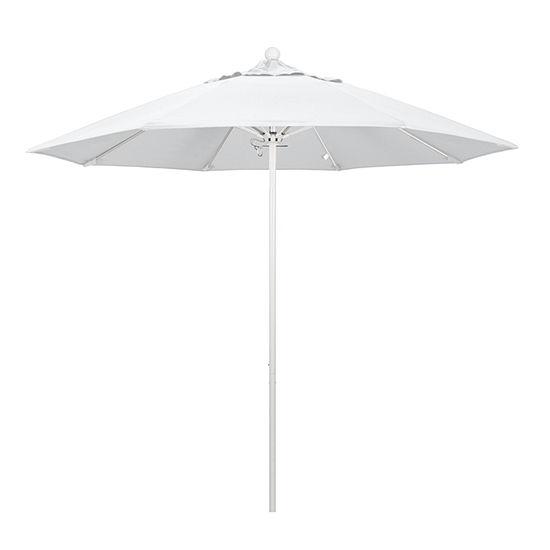 California Umbrella 9' Venture Series Pacifica Patio Umbrella With Matted White Aluminum Pole Fiberglass Ribs Push Lift